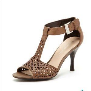 Franco Sarto Frieda Cutout Peep Toe Taupe Heels S7